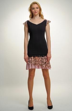 Černé mini šaty zdobené zajímavým kovovým efektem