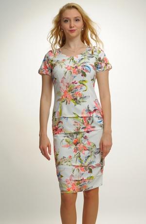 Dámské elastické pouzdrové šaty s rukávky