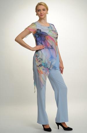 Kalhoty v jemné pastelové světle modré barvě