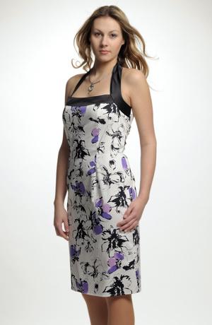 Květované dámské šaty na léto s moderním vázáním za krk.