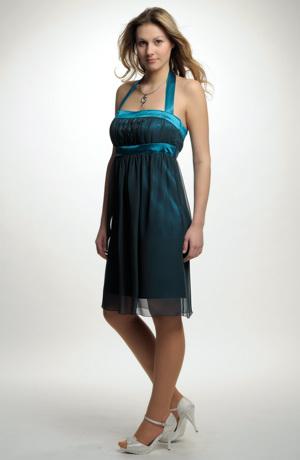 Krátké společenské šaty s řasením a raminky za krk, střih vhodný i pro těhotné, vel. 38, 40