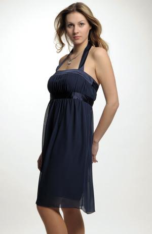 Společenské šaty ke kolenům na širší ramínka za krk, vel. 38, 40