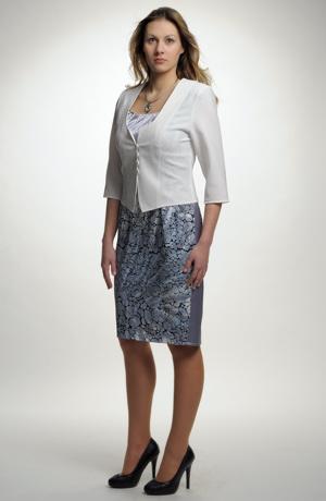Světlé společenské sako z luxusní plastické žakárové látky