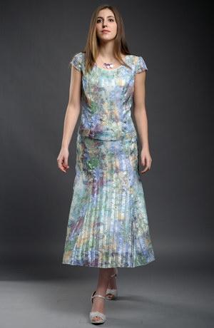 Letní top s delší sukní z jemného šifónu