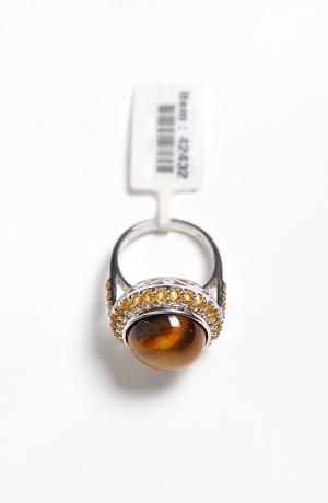 Prstýnek s přírodním kamenem - tygří oko, citríny