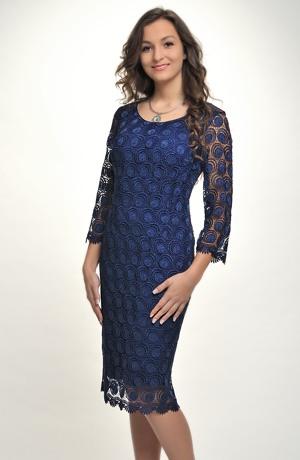 Dámské elegantní společenské šaty pokryté luxusní krajkou, vel.44 až 52
