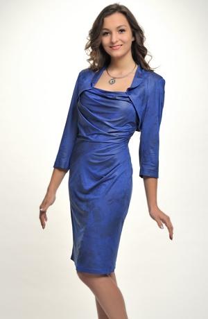 Velmi sofistikovaný, elegantní dámský komplet, šaty s luxusním bolerkem, vel. 40