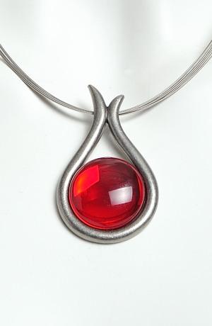 Náhrdelník na kovovém váček červený