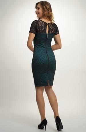 Krátké společenské koktejlové šaty s plastickým vzorem a krajkou ve vel., 36, 38, 40,