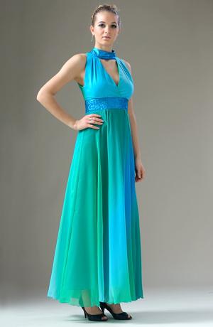Exkluzivní společenské šaty v tyrkysovozelené barvě.