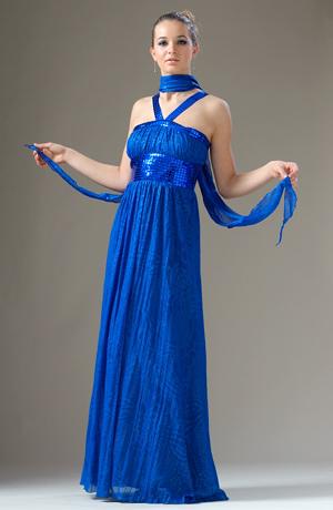 Řasené šaty s vysokým pasem z lesklých kostiček