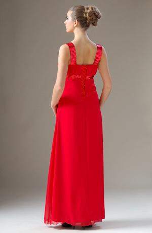 Dlouhé červené plesové šaty na širší ramínka