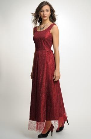 Společenské šaty s krajkovým sedlem a bohatou sukní. Vel. 40
