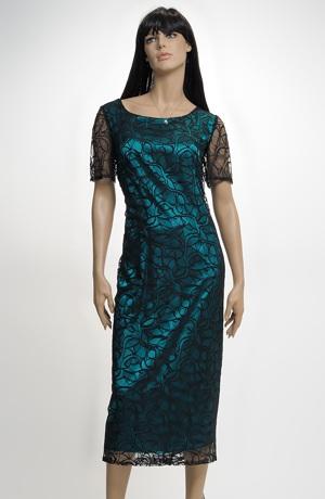 Elastické večerní šaty XXXL z atraktivní tylové krajky v lady délce