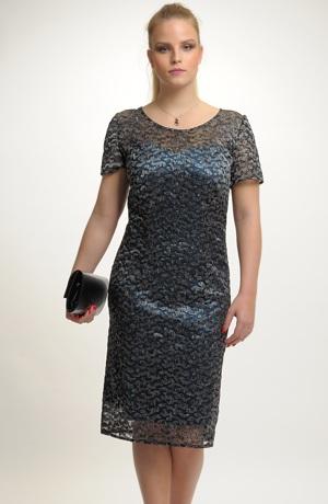Luxusní šaty z lesklé elastické krajky