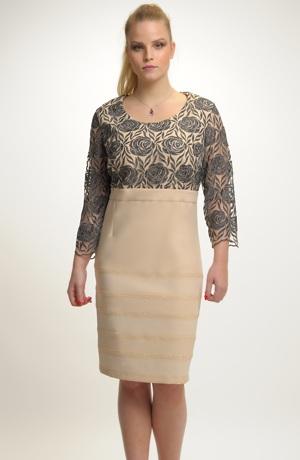 Koktejlové společenské šaty s luxusní krajkou