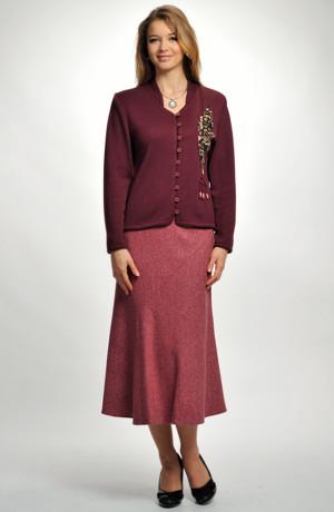 Dámská elegantní sukně z pepita s obsahem čistéhho hedvábí