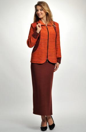 Dámský kombinovaný pletený kabátek v oranžové barvě