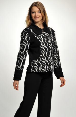 Sportovně elegantní bunda na zip kombinovaná s pleteninou