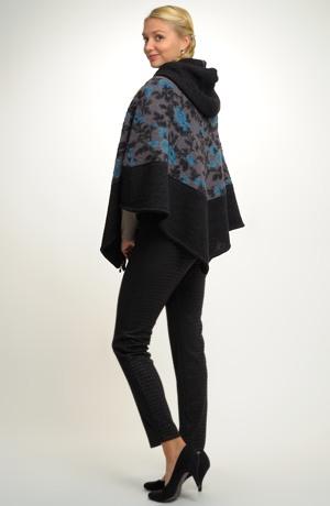 Pončo s kapucí z ozdobené pleteniny s černým lemem vel.38, 40, 42, 44, 46