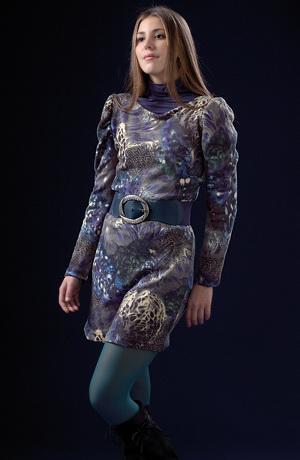 Květované pletené šaty - tunika ke kalhotům
