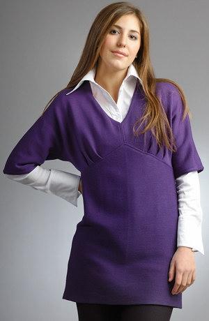 Pletená fialová tunika d výstřihem do