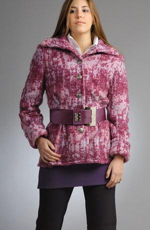 Hřejivý kabátek z mohérové melírované pleteniny.
