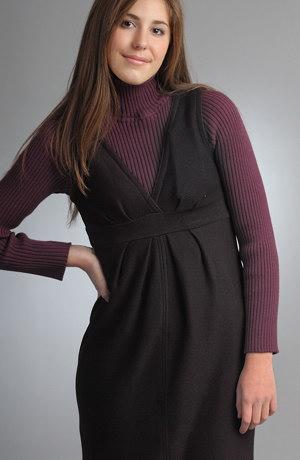 Pletená šatová sukně s řasením