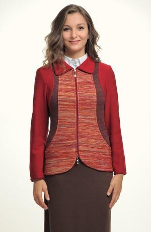 Pletený kabátek s límečkem na zip.