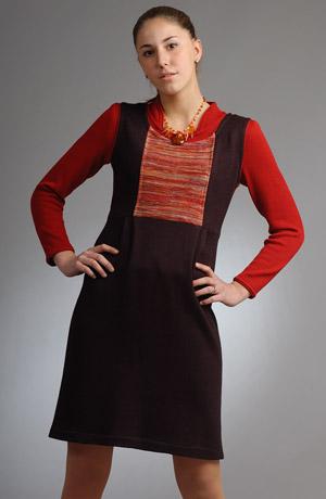 Pletená šatová sukně s barevnou náprsenkou