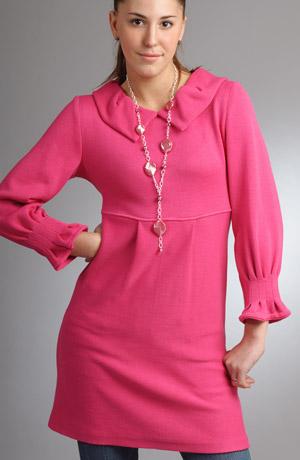Pletené minišaty šaty s módním nabíraným límcem.