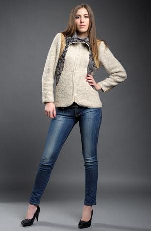 Pletený kombinovaný kabátek na zip.