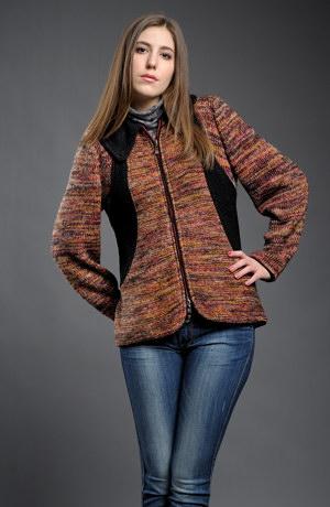 Melírovaný dámský pletený kabátek na zip.