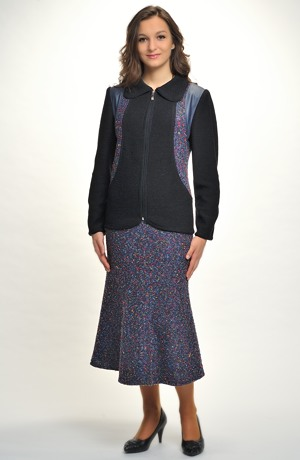Pletený boucle kabátek s límcem na zip