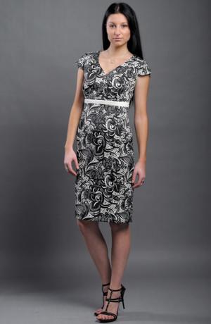 komplet-Elegantní pouzdrové šaty s kabátkem do velikosti