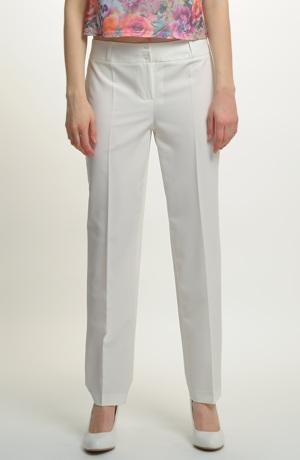 Dámské kalhoty ve smetanové bavě s puky