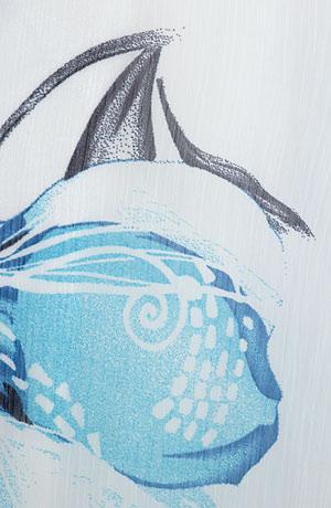 Šifonové šaty s modrými květy s bílou spodničkou na ramínka, lemované modrou krajkou