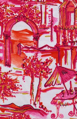 Top nabraný na boku s minisukní, letní barevný potisk.