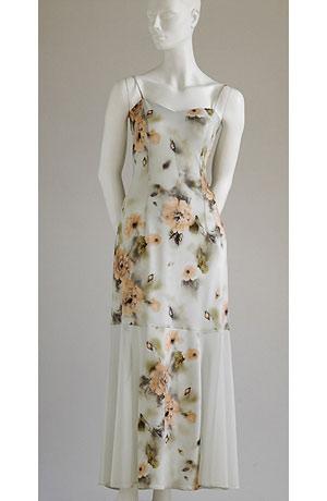 Elastické ramínkové šaty se vzorem květu a tylovou vsadkou