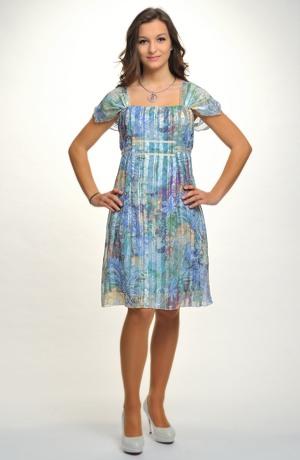 Společenské šaty ke kolenům na širší ramínka