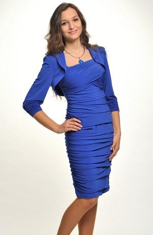 Velmi sofistikovaný, elegantní dámský komplet, šaty bolerkem,