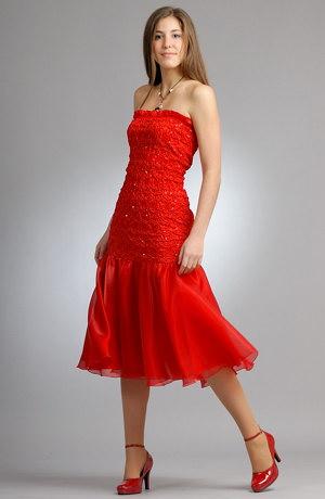 Šaty na tancování z taftu a s bohatým volánem