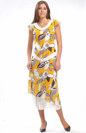 Letní šifónové šaty tunikového střihu s velkým vzorem.