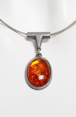 Náhrdelník na kovovém lanku - ovál oranžový