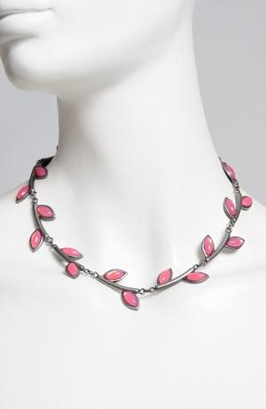 Náhrdelník se slitiny kovů, postříbřený, růžový