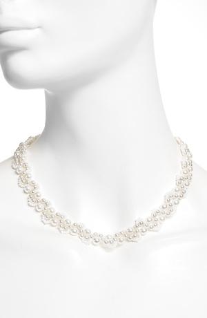 Náhrdelník umělá perlička na kovu
