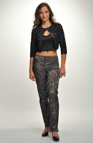Vzorované společenské kalhoty z luxusního elastického žakáru
