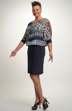 Dámské společenské šaty s netopýřími rukávy pro plnoštíhlé