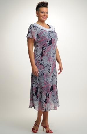 Společenské dlouhé šifonové šaty s rukávkem pro plnoštíhlé