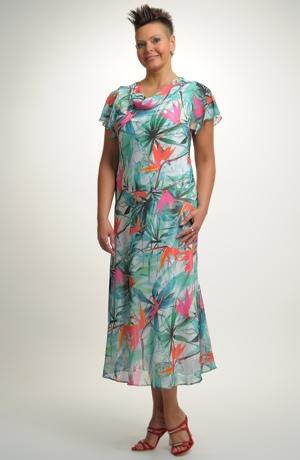 Dlouhé šifónové společenské šaty pro vel. 44,46,48,50, 52